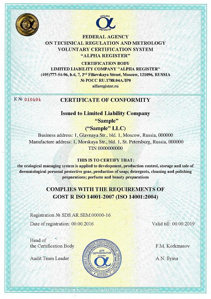 Макет сертификата ИСО 14001_eng